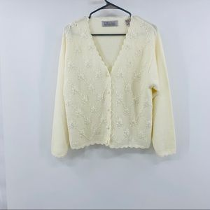 Karen Scott Hand Embroidered Cream V-Neck Sweater